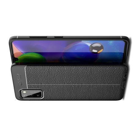 Litchi Grain Leather Силиконовый Накладка Чехол для Samsung Galaxy A41 с Текстурой Кожа Черный