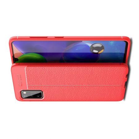 Litchi Grain Leather Силиконовый Накладка Чехол для Samsung Galaxy A41 с Текстурой Кожа Красный
