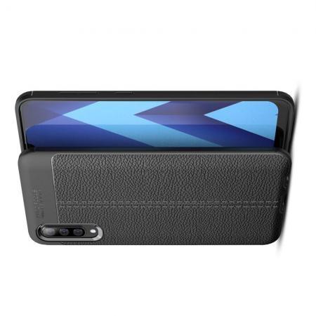 Litchi Grain Leather Силиконовый Накладка Чехол для Samsung Galaxy A50 с Текстурой Кожа Черный