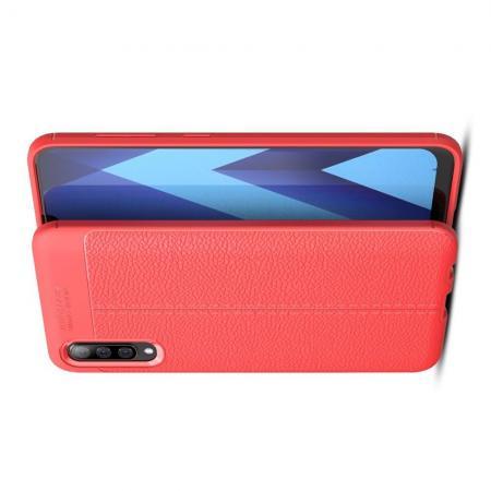 Litchi Grain Leather Силиконовый Накладка Чехол для Samsung Galaxy A50 с Текстурой Кожа Коралловый