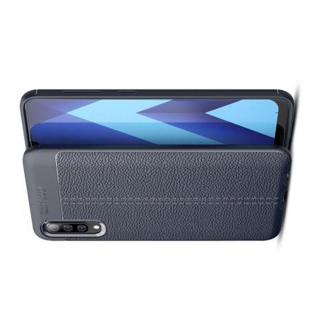 Litchi Grain Leather Силиконовый Накладка Чехол для Samsung Galaxy A50 с Текстурой Кожа Синий