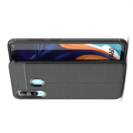 Litchi Grain Leather Силиконовый Накладка Чехол для Samsung Galaxy A60 с Текстурой Кожа Черный