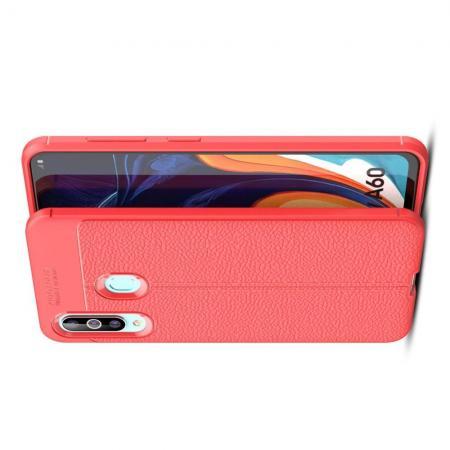 Litchi Grain Leather Силиконовый Накладка Чехол для Samsung Galaxy A60 с Текстурой Кожа Коралловый
