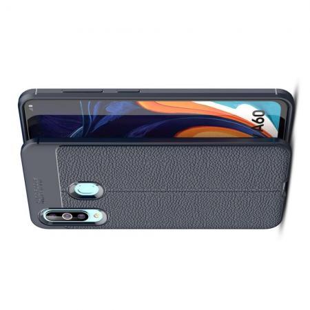 Litchi Grain Leather Силиконовый Накладка Чехол для Samsung Galaxy A60 с Текстурой Кожа Синий