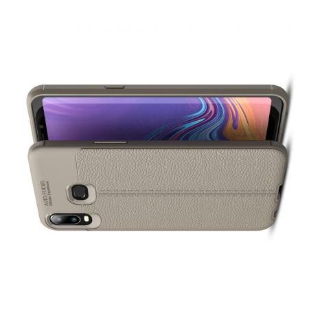 Litchi Grain Leather Силиконовый Накладка Чехол для Samsung Galaxy A6s с Текстурой Кожа Серый