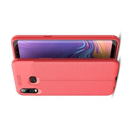 Litchi Grain Leather Силиконовый Накладка Чехол для Samsung Galaxy A6s с Текстурой Кожа Коралловый
