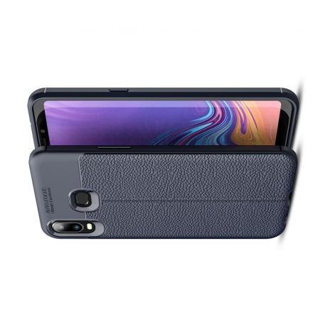 Litchi Grain Leather Силиконовый Накладка Чехол для Samsung Galaxy A6s с Текстурой Кожа Синий