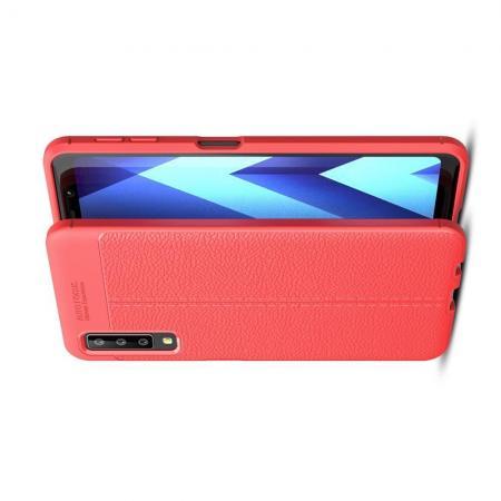Litchi Grain Leather Силиконовый Накладка Чехол для Samsung Galaxy A7 2018 SM-A750 с Текстурой Кожа Коралловый