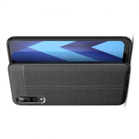 Litchi Grain Leather Силиконовый Накладка Чехол для Samsung Galaxy A70 с Текстурой Кожа Черный