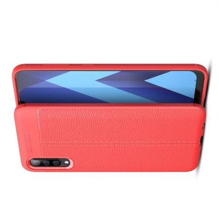 Litchi Grain Leather Силиконовый Накладка Чехол для Samsung Galaxy A70 с Текстурой Кожа Коралловый