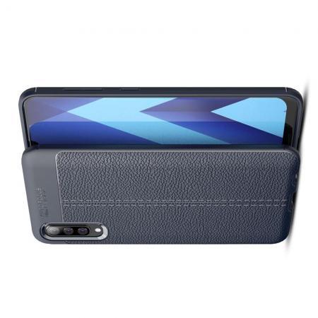 Litchi Grain Leather Силиконовый Накладка Чехол для Samsung Galaxy A70 с Текстурой Кожа Синий