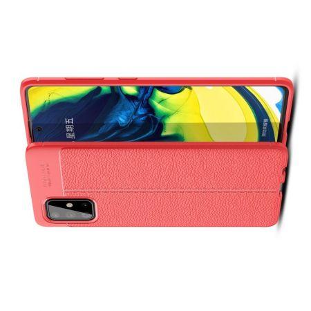 Litchi Grain Leather Силиконовый Накладка Чехол для Samsung Galaxy A71 с Текстурой Кожа Красный