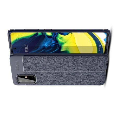 Litchi Grain Leather Силиконовый Накладка Чехол для Samsung Galaxy A71 с Текстурой Кожа Синий