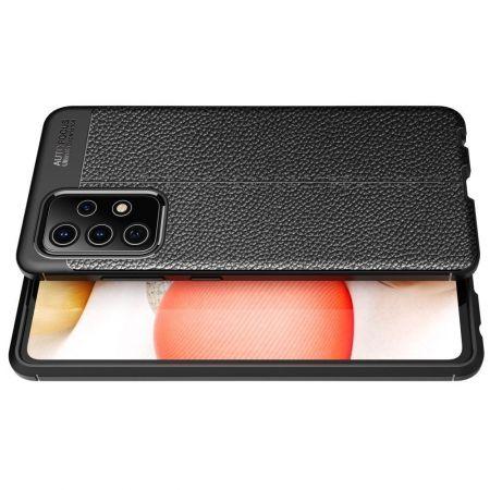 Litchi Grain Leather Силиконовый Накладка Чехол для Samsung Galaxy A72 с Текстурой Кожа Черный