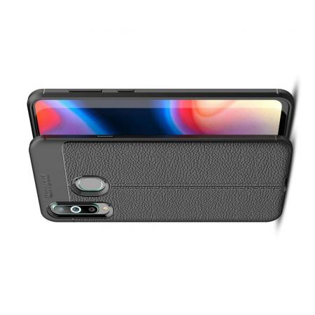 Litchi Grain Leather Силиконовый Накладка Чехол для Samsung Galaxy A8s с Текстурой Кожа Черный
