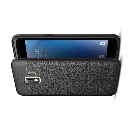 Litchi Grain Leather Силиконовый Накладка Чехол для Samsung Galaxy J2 Core (2020) с Текстурой Кожа Черный