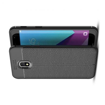 Litchi Grain Leather Силиконовый Накладка Чехол для Samsung Galaxy J3 2018 с Текстурой Кожа Черный