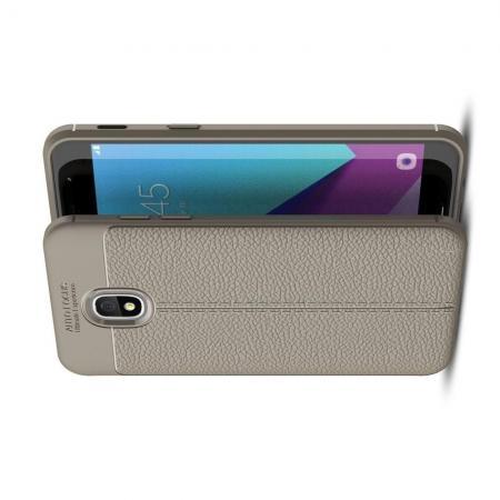 Litchi Grain Leather Силиконовый Накладка Чехол для Samsung Galaxy J3 2018 с Текстурой Кожа Серый