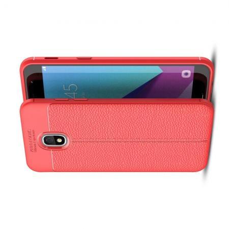 Litchi Grain Leather Силиконовый Накладка Чехол для Samsung Galaxy J3 2018 с Текстурой Кожа Красный