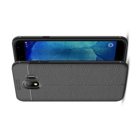 Litchi Grain Leather Силиконовый Накладка Чехол для Samsung Galaxy J4 2018 SM-J400 с Текстурой Кожа Черный