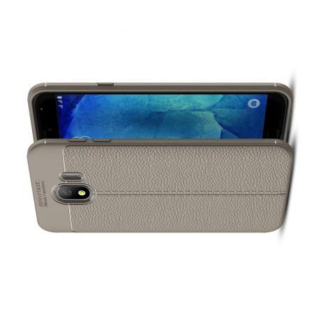 Litchi Grain Leather Силиконовый Накладка Чехол для Samsung Galaxy J4 2018 SM-J400 с Текстурой Кожа Серый