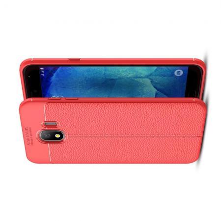 Litchi Grain Leather Силиконовый Накладка Чехол для Samsung Galaxy J4 2018 SM-J400 с Текстурой Кожа Коралловый