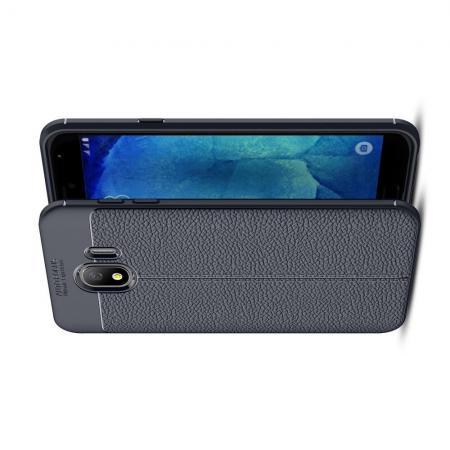 Litchi Grain Leather Силиконовый Накладка Чехол для Samsung Galaxy J4 2018 SM-J400 с Текстурой Кожа Синий