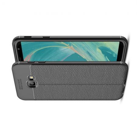 Litchi Grain Leather Силиконовый Накладка Чехол для Samsung Galaxy J4 Core с Текстурой Кожа Черный