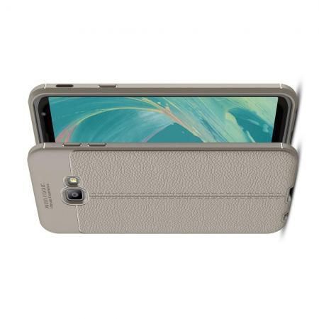Litchi Grain Leather Силиконовый Накладка Чехол для Samsung Galaxy J4 Core с Текстурой Кожа Серый
