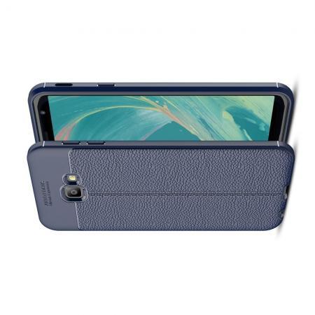 Litchi Grain Leather Силиконовый Накладка Чехол для Samsung Galaxy J4 Core с Текстурой Кожа Синий