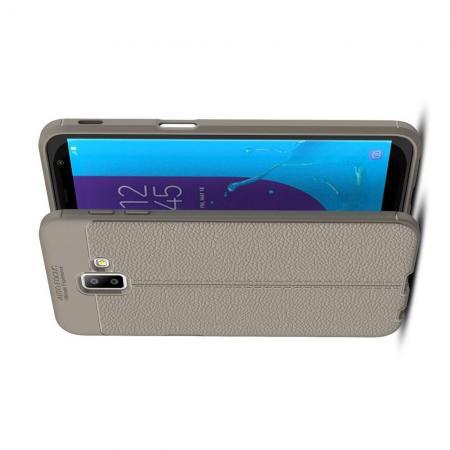 Litchi Grain Leather Силиконовый Накладка Чехол для Samsung Galaxy J6+ 2018 SM-J610F с Текстурой Кожа Серый