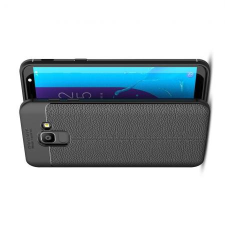 Litchi Grain Leather Силиконовый Накладка Чехол для Samsung Galaxy J6 SM-J600 с Текстурой Кожа Черный