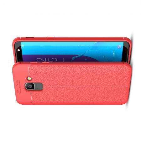 Litchi Grain Leather Силиконовый Накладка Чехол для Samsung Galaxy J6 SM-J600 с Текстурой Кожа Коралловый