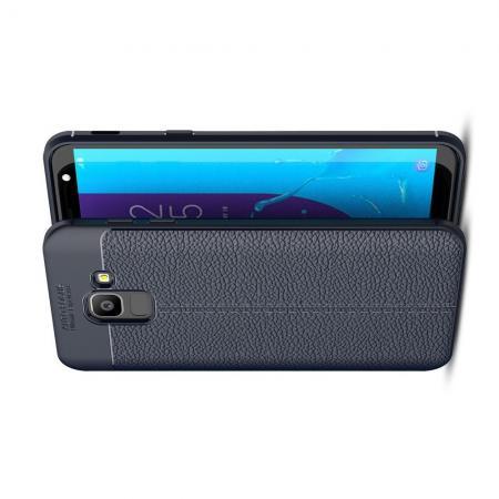 Litchi Grain Leather Силиконовый Накладка Чехол для Samsung Galaxy J6 SM-J600 с Текстурой Кожа Синий