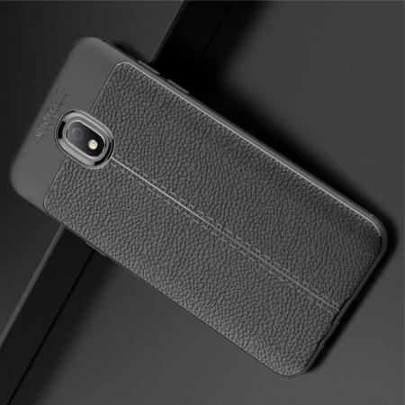Litchi Grain Leather Силиконовый Накладка Чехол для Samsung Galaxy J7 2018 с Текстурой Кожа Черный