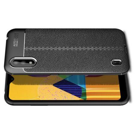 Litchi Grain Leather Силиконовый Накладка Чехол для Samsung Galaxy M01 с Текстурой Кожа Черный