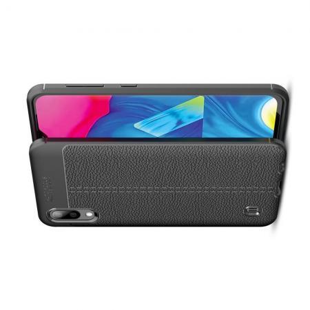 Litchi Grain Leather Силиконовый Накладка Чехол для Samsung Galaxy M10 с Текстурой Кожа Черный