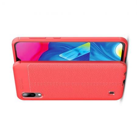 Litchi Grain Leather Силиконовый Накладка Чехол для Samsung Galaxy M10 с Текстурой Кожа Коралловый