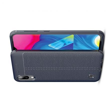 Litchi Grain Leather Силиконовый Накладка Чехол для Samsung Galaxy M10 с Текстурой Кожа Синий