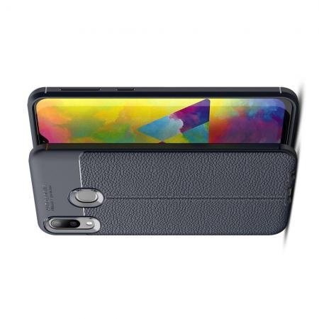 Litchi Grain Leather Силиконовый Накладка Чехол для Samsung Galaxy M20 с Текстурой Кожа Синий