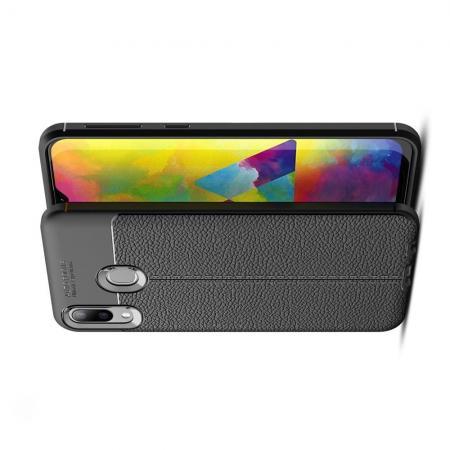 Litchi Grain Leather Силиконовый Накладка Чехол для Samsung Galaxy M20 с Текстурой Кожа Черный