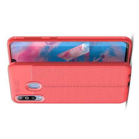 Litchi Grain Leather Силиконовый Накладка Чехол для Samsung Galaxy M30 с Текстурой Кожа Коралловый