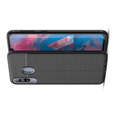 Litchi Grain Leather Силиконовый Накладка Чехол для Samsung Galaxy M30 с Текстурой Кожа Черный