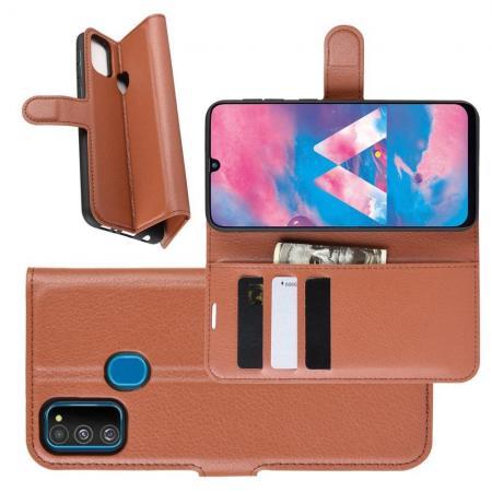 Litchi Grain Leather Силиконовый Накладка Чехол для Samsung Galaxy M30s с Текстурой Кожа Коричневый