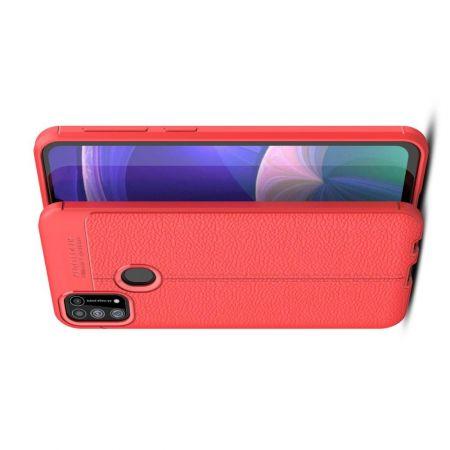 Litchi Grain Leather Силиконовый Накладка Чехол для Samsung Galaxy M31 с Текстурой Кожа Красный