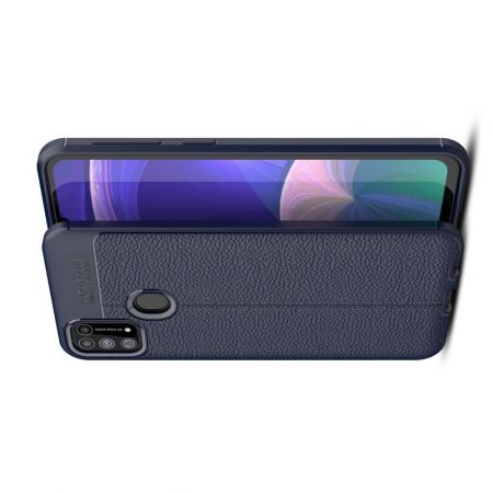 Litchi Grain Leather Силиконовый Накладка Чехол для Samsung Galaxy M31 с Текстурой Кожа Синий