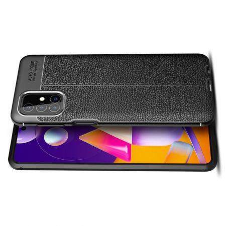 Litchi Grain Leather Силиконовый Накладка Чехол для Samsung Galaxy M31s с Текстурой Кожа Черный