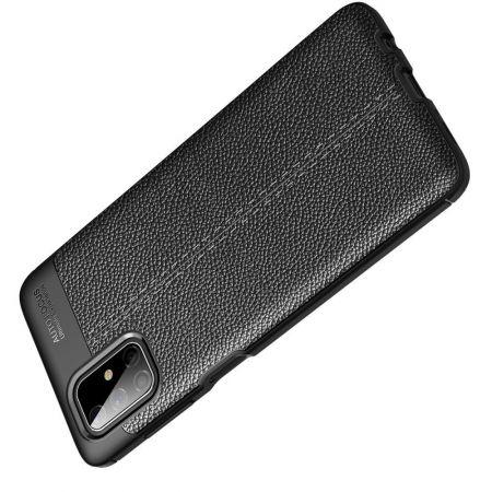 Litchi Grain Leather Силиконовый Накладка Чехол для Samsung Galaxy M51 с Текстурой Кожа Черный