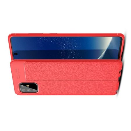 Litchi Grain Leather Силиконовый Накладка Чехол для Samsung Galaxy Note 10 Lite с Текстурой Кожа Красный