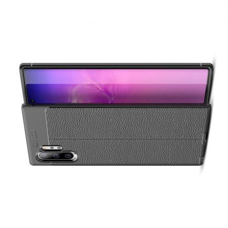 Litchi Grain Leather Силиконовый Накладка Чехол для Samsung Galaxy Note 10 Plus с Текстурой Кожа Черный
